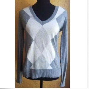 J.Crew Cashmere Blend Argyle Medium Sweater